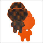 NCD401K 後ろチャイルドシートカバー  ブラウン・オレンジドット×オレンジ  型番:NCD401K